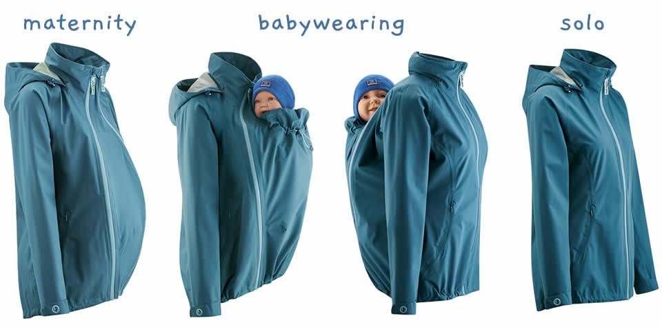 mamalila babywearing coats shown for pregnancy babywearing and solo wearing