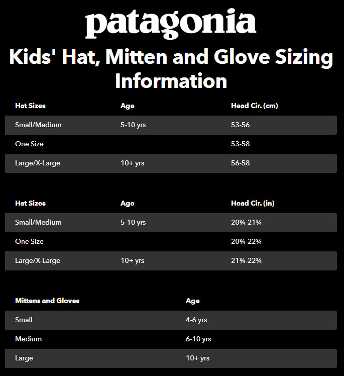 patagonia hats gloves size guide