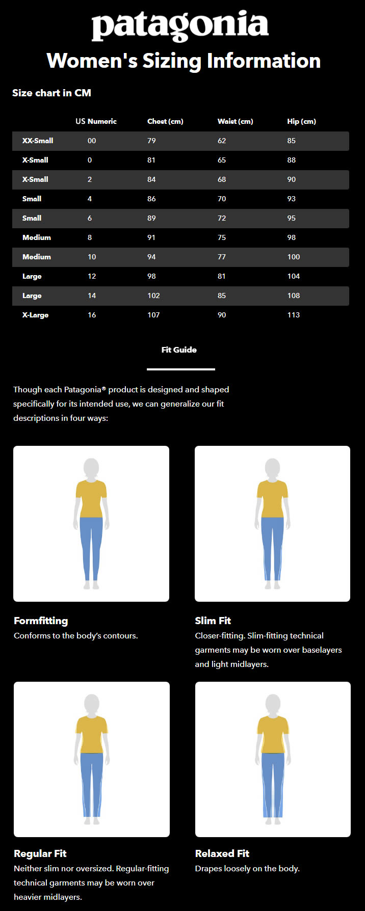 patagonia women's size guide